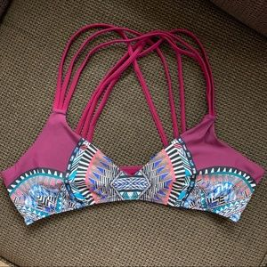 Red Carters strappy aztec bikini top nwot
